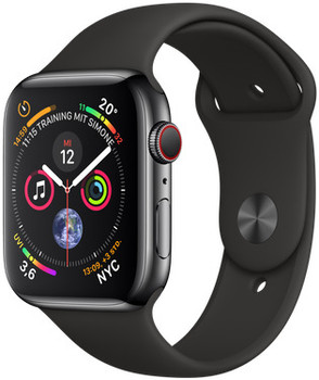 Apple Watch Series 4 44 mm edelstaal space zwart met sportarmband [wifi + cellular] zwart