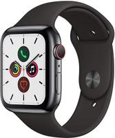 Apple Watch Series 5 44 mm Cassa in acciaio inossidabile nero siderale con Cinturino Sport nero [Wi-Fi + Cellular]