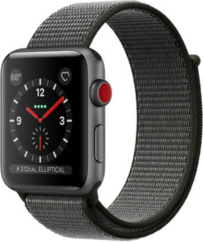 Apple Watch Series 3 42 mm aluminium spacegrijs met geweven sportbandje zwart [wifi + cellular]