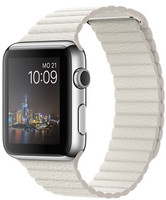 Apple Watch 42mm argento con cinturino Loop Medium in pelle bianco [Wifi]