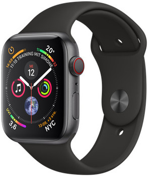 Apple Watch Series 4 44mm caja de aluminio en gris espacial y correa deportiva negra [Wifi + Cellular]