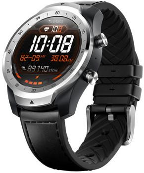 Mobvoi Ticwatch Pro 45 mm liquid metal zilver met leren bandje zwart [wifi]