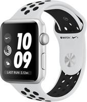Apple Watch Nike+ Series 3 42 mm aluminium zilver met Nike sportarmband witzwart [wifi]