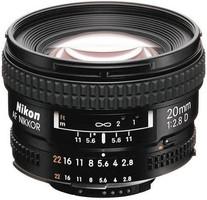Nikon AF NIKKOR 20 mm F2.8 D 62 mm Objetivo (Montura Nikon F) negro