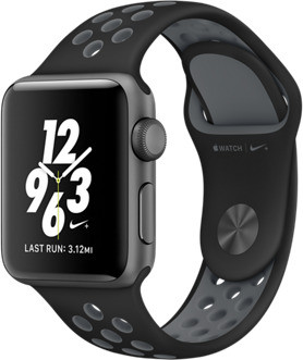 Apple Watch Nike+ Series 2 42 mm spacegrijs aluminium met Nike sportarmband zwartcool grijs [wifi]