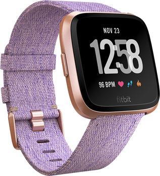 Fitbit Versa 34 mm aluminium roségoud met geworven stoffen armband [wifi] paars