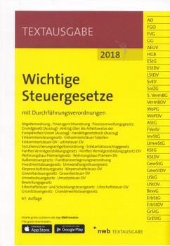 Wichtige Steuergesetze: Textausgabe 2018 mit Durchführungsverordnungen [Taschenbuch, 67. Auflage 2018]