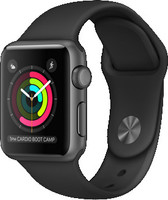 Apple Watch Series 1 38 mm bôiter en aluminium gris au bracelet Sport noir [WiFi]