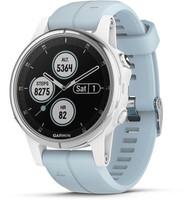 Garmin Fenix 5S Plus 42 mm wit met seafoam armband blauw [wifi, Saphir editie]