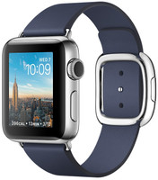 Apple Watch Series 2 38 mm zilver aluminium met leren bandje Medium middernachtblauw [wifi]