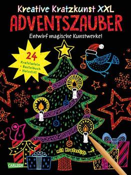 Kreative Kratzkunst XXL: Adventszauber: Set mit 24 Kratzbildern, Anleitungsbuch und Holzstift - Christine Mildner  [Taschenbuch]