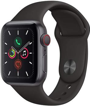 Apple Watch Series 5 40 mm Aluminiumgehäuse space grau am Sportarmband schwarz [Wi-Fi + Cellular]