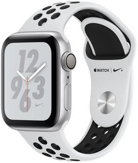 Apple Watch Nike+ Serie 4 40 mm alloggiamento in alluminio argento con Bracciale sportivo Nike pure Platino/nero [Wi-Fi]