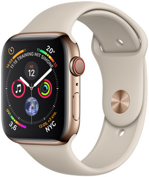 Apple Watch Series 4 44mm caja de acero inoxidable en oro y correa deportiva en color piedra [Wifi + Cellular]