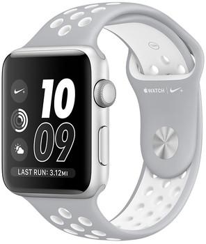 Apple Watch Nike+ Series 2 42 mm Aluminiumgehäuse silber am Nike Sportarmband flat silver weiß [Wi-Fi]
