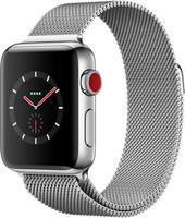 Apple Watch Series 3 38 mm edelstaal zilver met Milanees Armband zilver [wifi + cellular]
