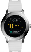 Fossil Founder 44 mm zilver met siliconen armband wit [wifi, 2e generatie]