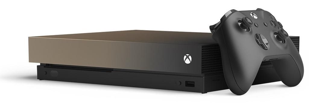 Microsoft Xbox One X 1TB [Battlefield V Gold Rush Special Edition incluye mando inalámbrico, sin juego] oro