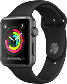 Apple Watch Series 3 42mm Caja de aluminio en gris espacial con correa deportiva negra [Wifi]