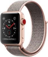 Apple Watch Series 3 38 mm aluminium goud met geweven sportbandje roze [wifi + cellular]