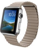 Apple Watch 42 mm zilver met leren bandje steengrijs [wifi]