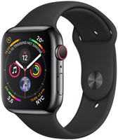 Apple Watch Serie 4 44 mm alloggiamento in acciaio inossidabile space nero con Loop sportivo nero [Wi-Fi + Cellular]