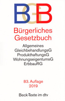 BGB Bürgerliches Gesetzbuch [Taschenbuch, 83. Auflage 2019]