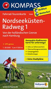 Nordseeküstenradweg 1, Von der holländischen Grenze nach Hamburg: Fahrrad-Tourenkarte. GPS-genau. 1:50000.