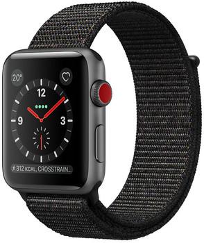 Apple Watch Series 3 42mm Caja de aluminio en gris espacial con correa Loop deportiva negro [Wifi + Cellular]