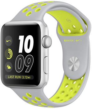 Apple Watch Nike+ Series 2 42mm cassa in alluminio argento con cinturino Nike Sport argento giallo [Wifi]