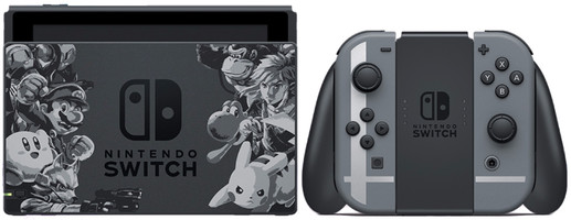 Nintendo Switch 32 GB [Super Smash Bros. ultimate edition incl. controller grijs, zonder spel] zwart
