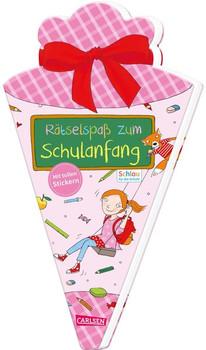 Schlau für die Schule: Rätselspaß zum Schulanfang mit Stickern (Schultüte für Mädchen). Malen und Rätseln für den Schulstart - Caroline Fuchs  [Taschenbuch]