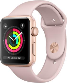 Apple Watch Series 3 42 mm aluminium goud met sportarmband roze [wifi]