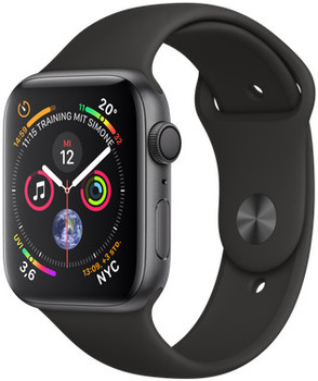 Apple Watch Serie 4 44 mm alloggiamento in alluminio space grigio con Loop sportivo nero [Wi-Fi]