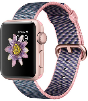 Apple Watch Series 2 38mm Caja de aluminio en oro rosa con correa de nailon trenzado rosa claro azul noche [Wifi]
