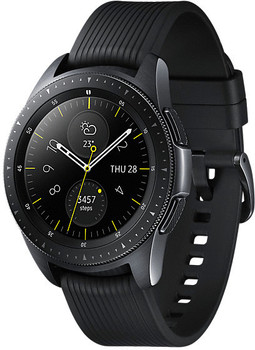 Samsung Galaxy Watch 42 mm nero am Cinghia in silicone nero [Wi-Fi + 4G]