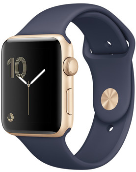Apple Watch Series 2 38 mm goud aluminium met sportarmband middernachtblauw [wifi]