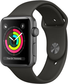 Apple Watch Series 3 42 mm aluminium spacegrijs met sportarmband grijs [wifi]