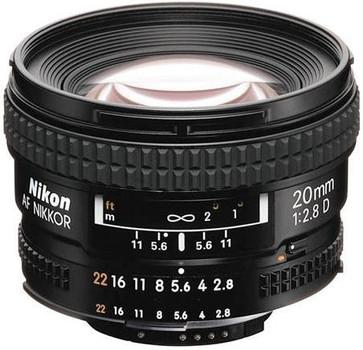 Nikon AF NIKKOR 20 mm F2.8 D 62 mm filter (geschikt voor Nikon F) zwart