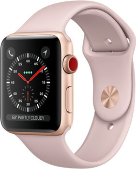 Apple Watch Series 3 42mm Caja de aluminio en oro con correa deportiva arena rosa [Wifi + Cellular]