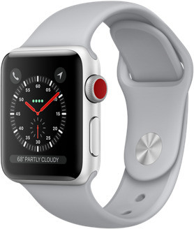 Apple Watch Series 3 38mm cassa in alluminio argento con cinturino Sport azzurro nebbia [Wifi + Cellular]