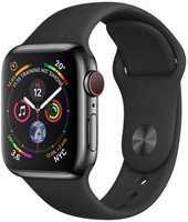 Apple Watch Series 4 40 mm boîtier en acier inoxydable noir sidéral avec Bracelet Sport noir [Wifi+ Cellular]