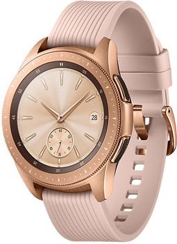 Samsung Galaxy Watch 42 mm oro am Cinghia in silicone rosa [Wi-Fi + 4G]