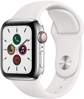 Apple Watch Series 5 40 mm Edelstahlgehäuse silber am Sportarmband weiß [Wi-Fi + Cellular]