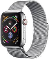 Apple Watch Series 4 44 mm edelstaal zilver met milanese armband [wifi + cellular] zilver