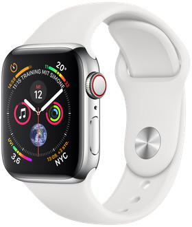 Apple Watch Series 4 40mm caja de acero inoxidable en plata y correa deportiva blanca [Wifi + Cellular]