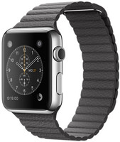 Apple Watch 42mm argento con cinturino Loop Large in pelle antracite [Wifi]