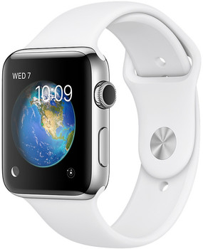 Apple Watch Series 2 42 mm zilver aluminium met sportarmband wit [wifi]