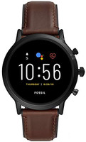Fossil The Carlyle HR 44 mm zwart met leer armband bruin [wifi, 5e generation]