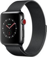 Apple Watch Series 3 42 mm - Boîtier en acier inoxydable noir sidéral avec bracelet milanais noir sidéral [Wi-Fi + Cellulaire]